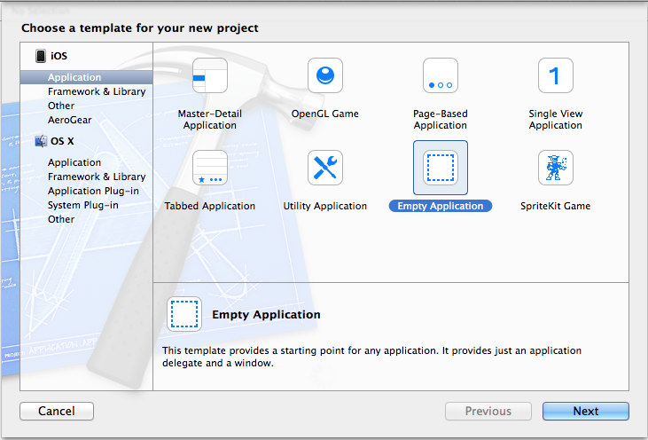 xcode project management guide 来到了xcode project management guide界面,使用command+shift+n快捷键新建工程 3 选择application-cocoa application,之后输入工程名 4 cocoa application.