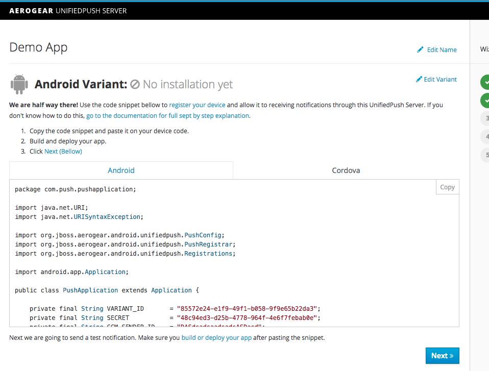 AeroGear - FCM Push Notifications with AeroGear's UnifiedPush Server