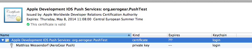 AeroGear - APNs Push Notifications with AeroGear's